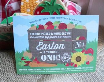 Farmers Market Birthday Invitation - Printable, Digital File, Farm Party, Farmers Market Birthday, Farmers Market Party, Garden Party