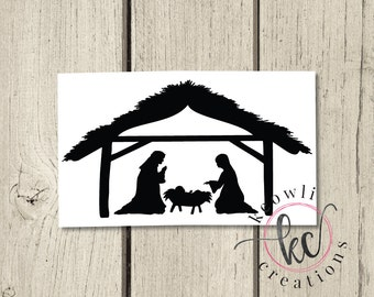 Nativity Stable Family Vinyl Decal