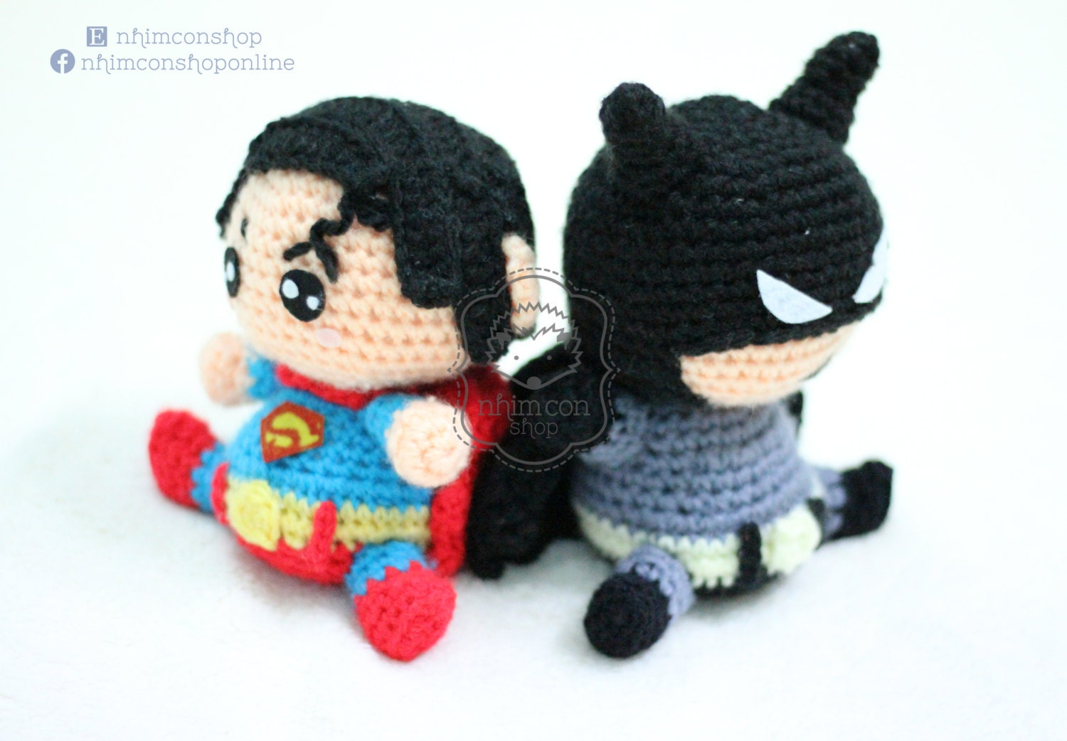 Amigurumi Crochet Batman : Superman VS Batman Chibi Amigurumi Plushie Stuffed Toy Doll