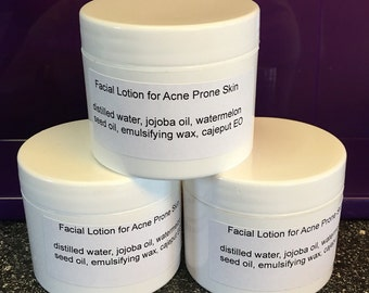 Facial lotion for acne prone skin