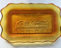 Amberina Glass Plate, Vintage Orange Glass, Last Supper Plate, Religious Decor, Collectible Plate, Pressed Glass,  Bread Plate, Jesus