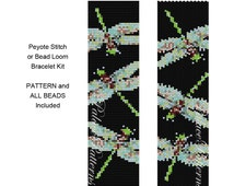 Bead Loom or Peyote Stitch Bracelet Kit - Delica Bracelet Bead Weaving KIT - Includes Pattern and Beads - Dragonfly on Black