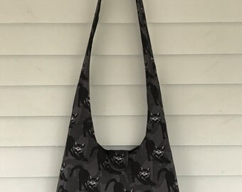 Black cat goth canvas hobo slouch hippie bag