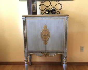 SOLD to Heidi ** Tiny Radio Cabinet Turned to Wine Bar** SOLD ***
