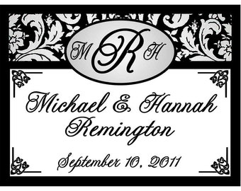 15 Black DAMASK Wedding Favors PERSONALIZED MAGNETS ~ Free Shipping