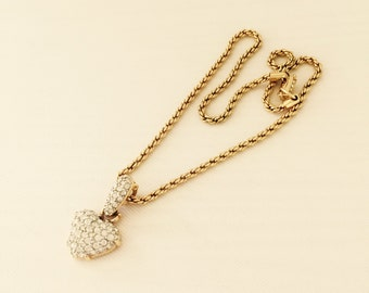 Swarovski Pave Heart Pendant-Vintage Necklace Pave Crystals-Bridal Jewelry, Wedding, Bridesmaid, Mother of the Bride