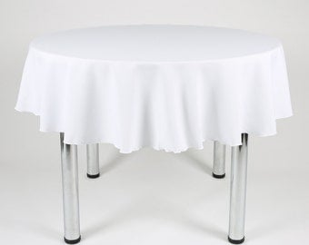 White Round Tablecloth - Made from polyester fabric not cotton.