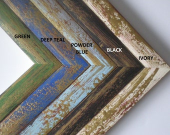 Picture frame A4 photo frame rustic frame hand painted 21x30 cm art frame with gold solidwoodshop