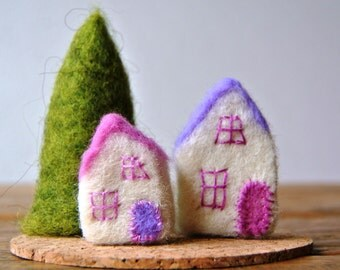 Two felted houses; miniature houses