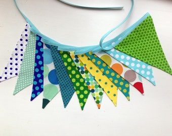 "Fun Luxury Cotton Bunting ""SPOTTY DOTTY!"" - 12 Pennants/Flags - Blue Greens Yellows - Double Sided"