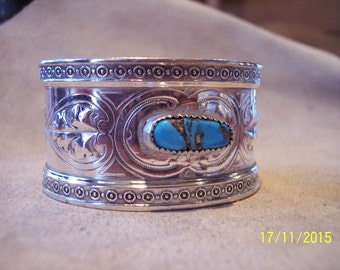 Antique Sterling Silver Turquoise Cuff bracelet.