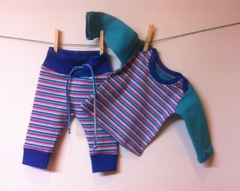 Striped set, elastic cotton, mt 62