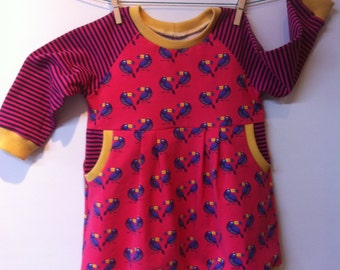 Dress with toucans and dashes, mt 86, 11/2-2 yrs