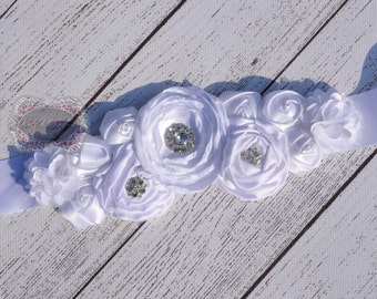 White Sash Belt White Maternity Sash Belt White Flower Girl Sash Belt Wedding Sash rhinestone sash flower sash Photo Prop