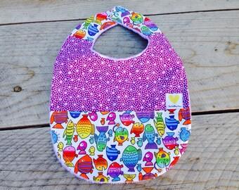 Purple baby girl bib - rainbow fish baby bib - baby shower gift - cotton minky baby bib