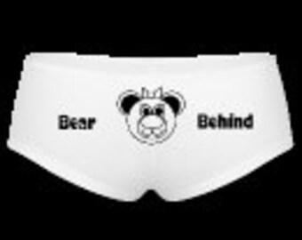 Bear behind, ladies hip hugger underwear, knickers, funny