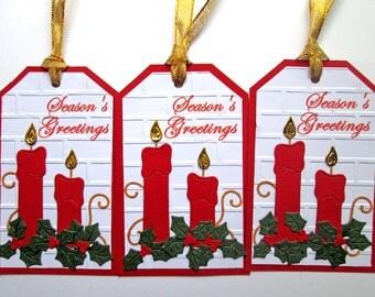 Christmas Tags, Candle Gift Tags, Christmas Gift Tags, Christmas Favor Tags, Christmas Hang Tags, Holiday Gift Tags, Candle Tags, Set of 5