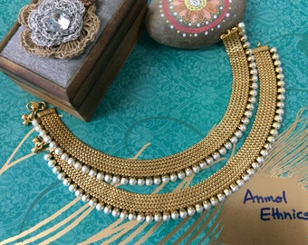 1 gm micro plated Pearl Anklet/Payal Pair