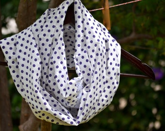 Infinity Scarf Poas, Polka, Purple Dots Scarf with white lace