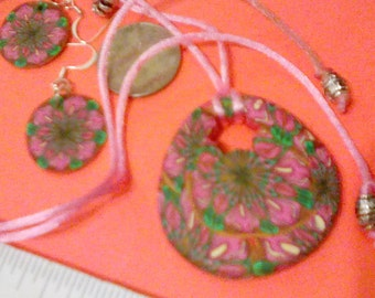 Clay earrings and necklace set