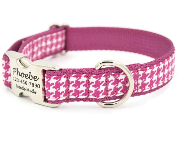 Houndstooth Personalized Dog Collars Laser Engraved Name