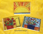 Blank Note Cards, Art Quilt Greeting Card Set, Colorful, Sunshine Greetings, Cheerful Note Card Set