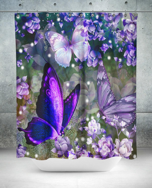 butterfly shower curtain purple lavender floral. Black Bedroom Furniture Sets. Home Design Ideas