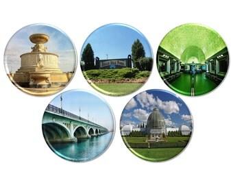 Belle Isle Pinback Button, Scott Fountain Button Badge, Belle Isle Pin, Detroit Pinback Button, Detroit City Button Badge - BB2696
