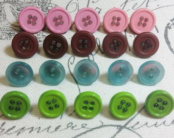 Decorative Pink Green Blue Brown Button Thumbtacks, Thumb Tacks, Push Pins - Set of 20 Office Decor, Home Decor, Cork Board, Bulletin Board