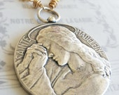 "Necklace - Saint Mary Magdalene Sterling Silver over Brass Medal - 55mm on a 26"" 18K gold plated chain"