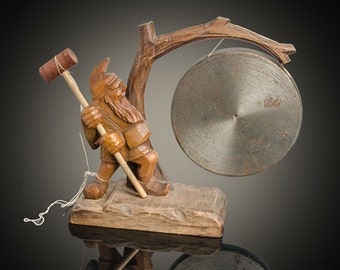 Anri Italian hand carved wood figurine gong advertising Adelphia Hotel Phila PA