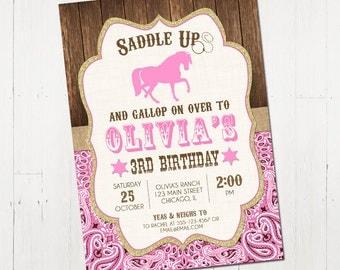 Horse birthday invitation, Horse invitation, shabby chic birthday, pony invitation, horse party, western invitation, Printable Invitation