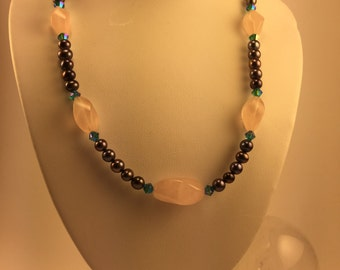Pearl and Rose Quartz Necklace