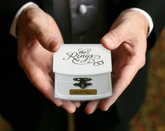Personalized Ring Bearer Box Engraved For Free Alternative Ring Bearer Pillow Wood Case For Wedding Rings For Ring Bearer To Use