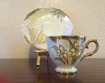 TEA CUP and SAUCER,  Luster Ware Tea Cup and Saucer, Daffodil Tea Cup and Saucer