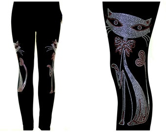 Regular Size Black Contouring Full Length Leggings Embellished All Rhinestone Cat With Heart Tail Design