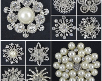 SALE Large Crystal rhinestone pearl brooches embellishments bridal wedding bouquet accessories flower centers