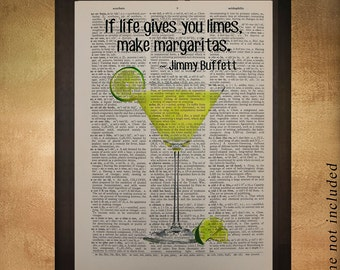 Margarita Dictionary Art Print, Tequila Lime Jimmy Buffett Quote Alcohol Drink Bar Art Kitchen Art Wall da1202