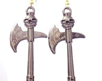 Earrings,  dangle earrings,  axe earrings, skull earrings, long earrings