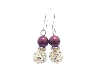 Swarovski blackberry pearl earrings, swarovski earrings, pearl earrings, blackberry earrings, bridal earrings, earrings,  drop earrings