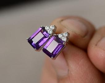 Natural Amethyst Earrings Stud Sterling Silver