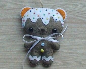 Gingerbread Cookie Bear Felt Ornament,  Felt cookie, Halloween toy, Felt Gingerbread, Pumpkin Spice, Cookie Bear, Bear toy, Sweet teddy bear