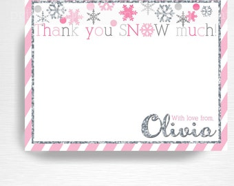 Pink Silver Winter Wonderland Winter ONEderland Birthday Digital Thank You Card YOU PRINT