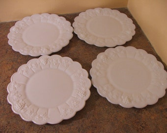 Set of Four (4) Vintage 1960s Westmoreland Milk Glass Paneled Grapes and Leaves Salad / Luncheon Plates