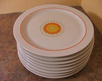 Set of Eight (8) Vintage 1970s Georges Briard Florette Dinner Plates