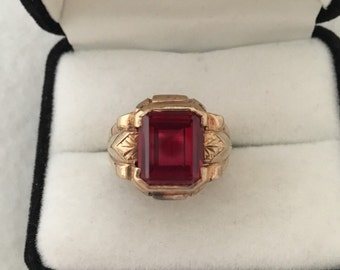 Mens 10K Gold Men Gent Ruby Vibrant Cabochon Vintage Ring Hallmarked SA