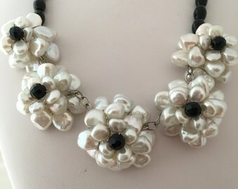 Ross Simons Biwa Pearl Flower Cluster Black Faceted Bead Necklace Sterling Silver 925