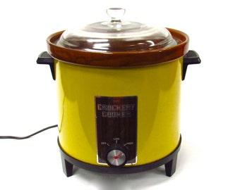 Mid Century Yellow Crock Pot - Crock Pot 1970s