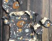 Organic Coming Home Outfit - Fox In The Garden - natural baby clothes, floral bodysuit, gender neutral outfit, hospital coming home outfit