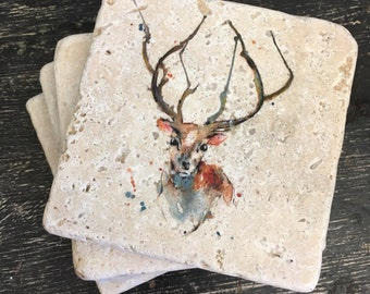 Stag stone coasters Puddle Paints artwork, stag, watercolour stag, christmas gift ideas, woodland gift